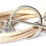 Schlangenleder-Armband in Nude