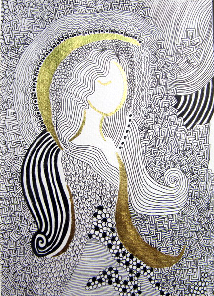 Malerei in schwarz wei und mit blattgold veredelt for Blattgold basteln