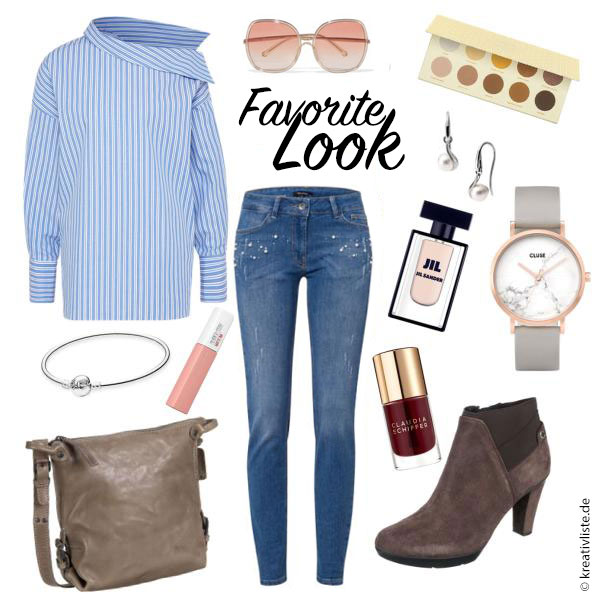 Styles mit Jeans - hier mit gestreifter Bluse