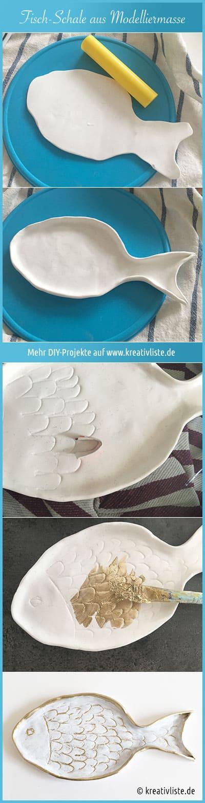 DIY Projekt Schale aus Modelliermasse in Fischform
