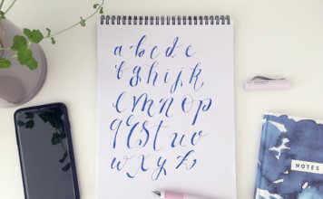 Beispiel für ein Handlettering-Alphabet von Kleinbuchstaben