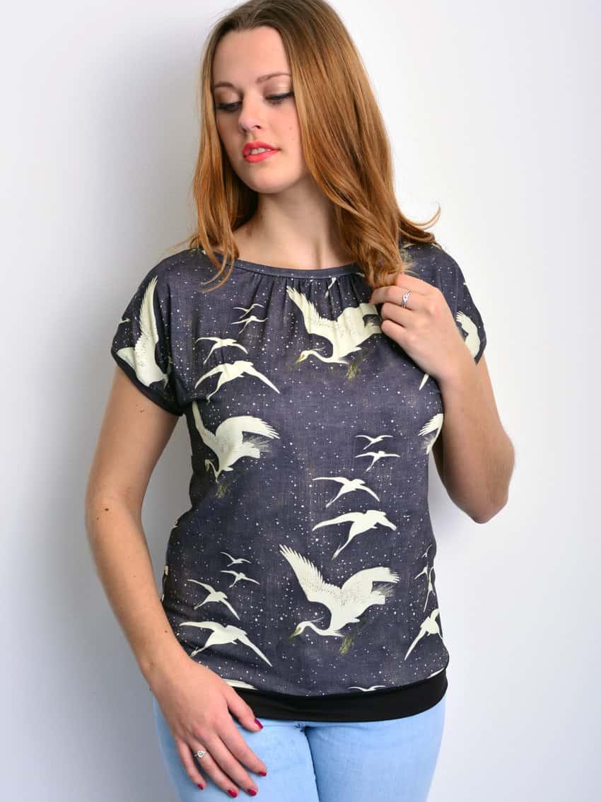 Damenmode von stadtkind postdam - Shirt mit Kranichen