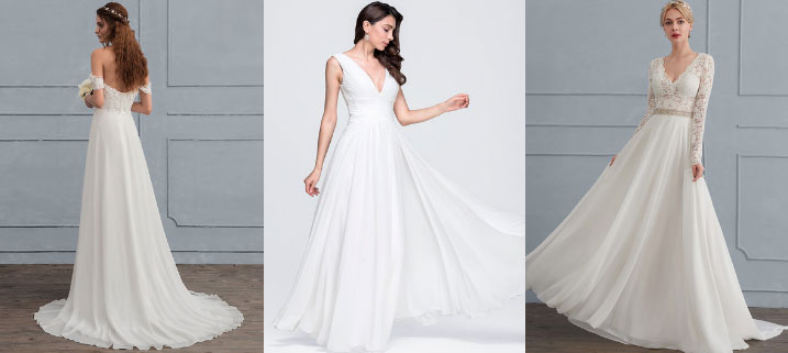 Die A-Linien-Form gehört zu den klassischen Brautkleidtypen