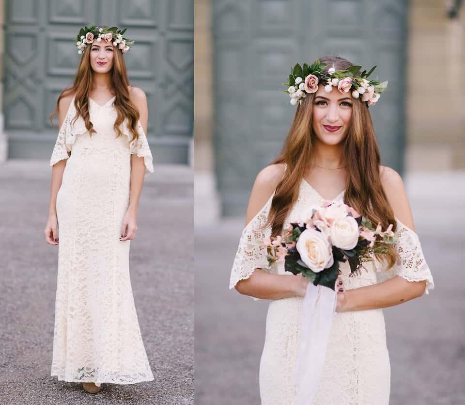 Sehr zurückhaltend wirken gerade geschnittene Brautkleider