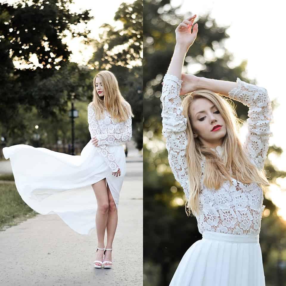 Ein Kleid in A-Linie versteckt die Hüften