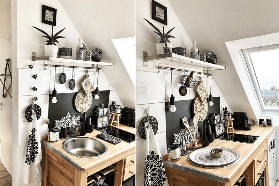 Die Spüle wird in der kleinen Küche mit einem passenden Tablett zu einem Arbeitsbereich umfunktioniert