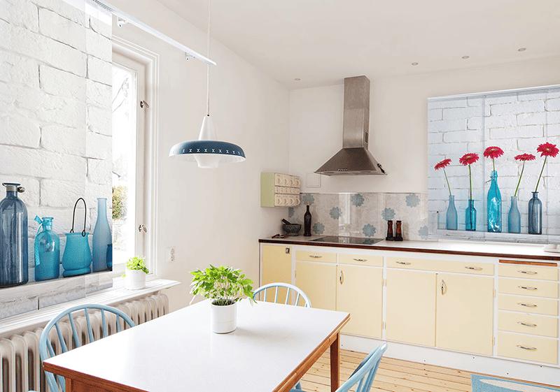Motiv-Gardinen sind bestens für die Küche geeignet ...