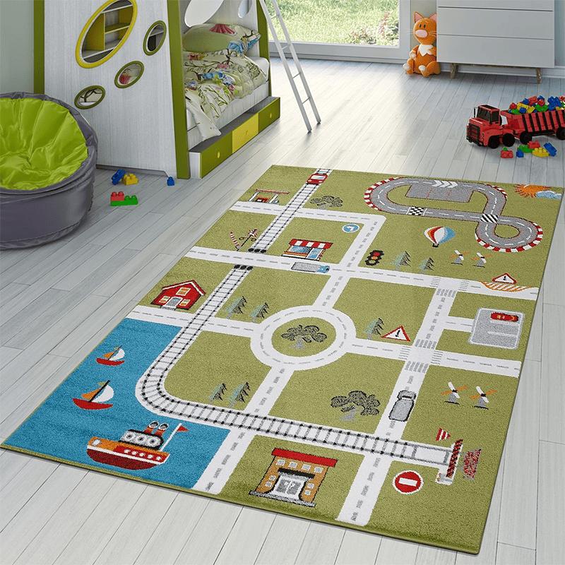 Ein Spielteppich lässt das Kind das Leben in der Stadt nachspielen