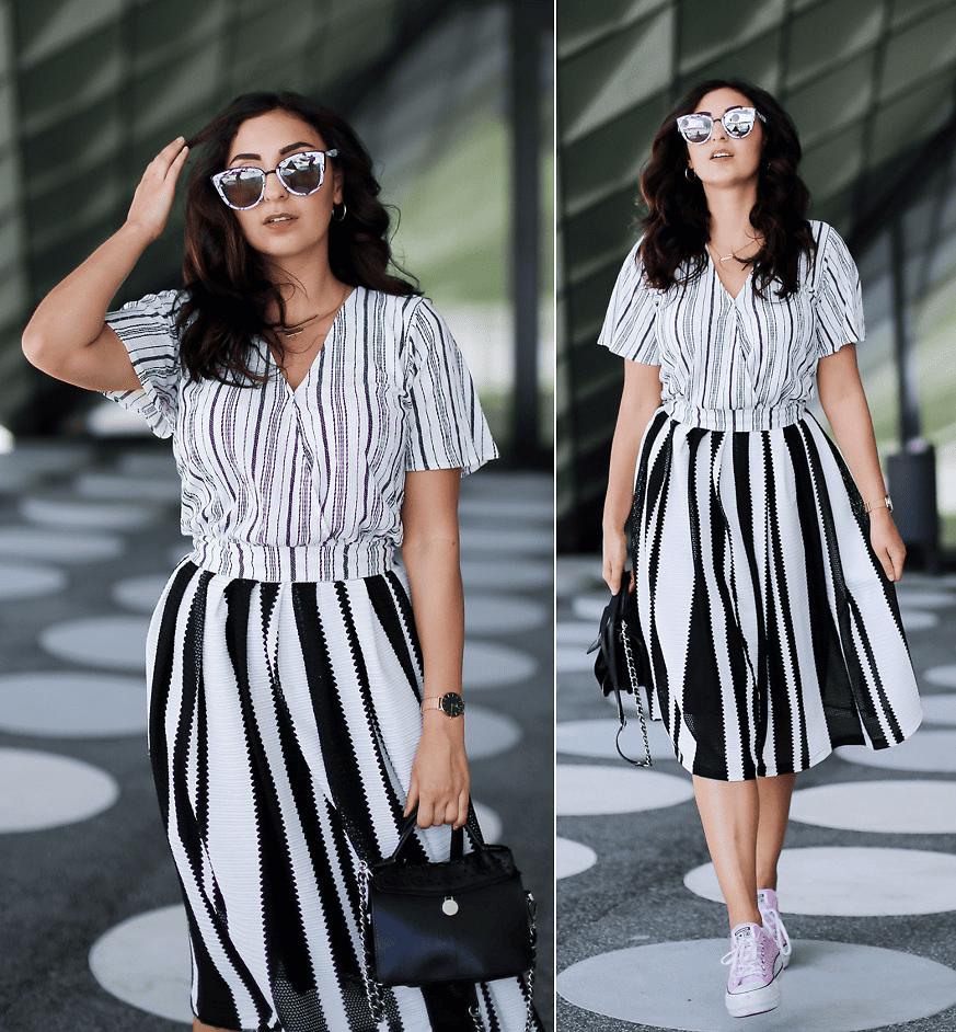 Ein eleganter Style in Schwarz-Weiss mit unterschiedlichen Streifenstärken