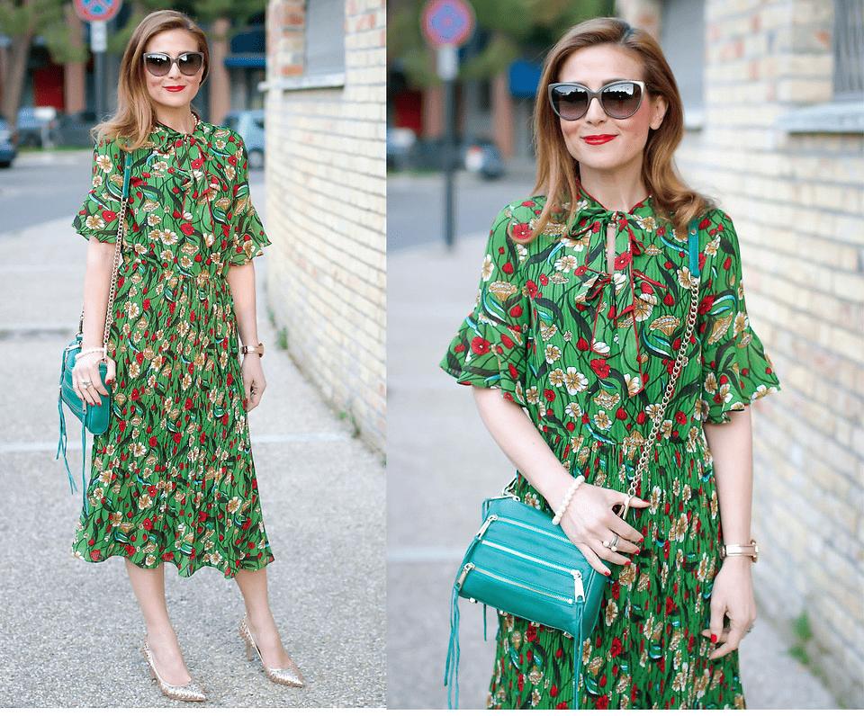 Kleider mit Blütenmuster in Grün