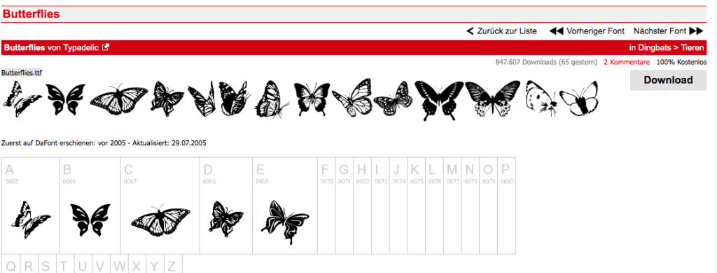 Kostenlose Schmetterlinge für den Privatgebrauch plotten