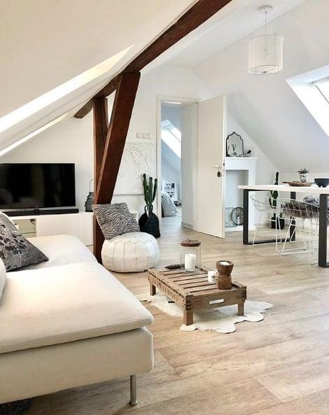 Eine Wohnung von 40 qm direkt unter dem Dach