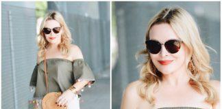 So schick: schulterfreie Bluse zur Culotte