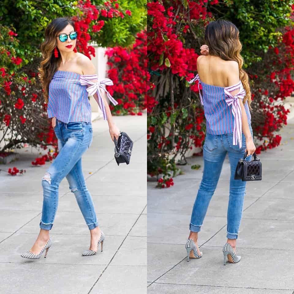 Offshoulder-Top klassisch zur Jeans