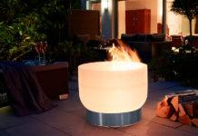Moderne Feuerschale aus Glas