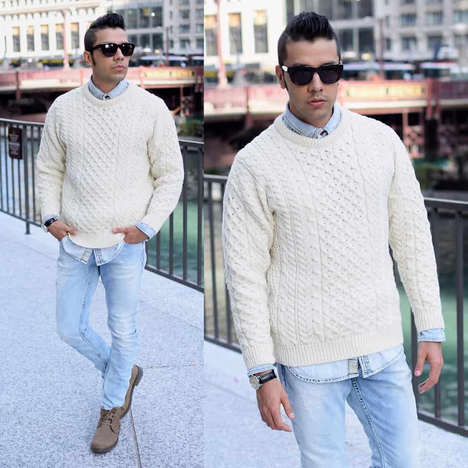 Modern und elegant in der Mode echte Schuhe heiße Angebote Ein Hemd unter dem Rundhals-Pullover sieht immer schick aus ...