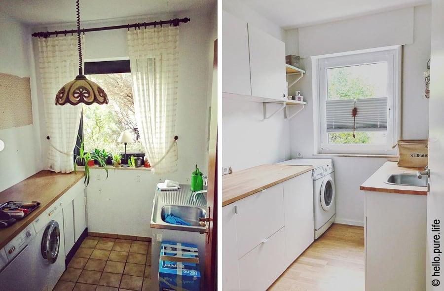 Vorher-Nachher Aufnahmen eines Hauswirtschaftsraumes